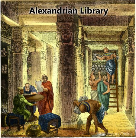Fantasietekening van Mouseion-bibliotheek Alexandrië