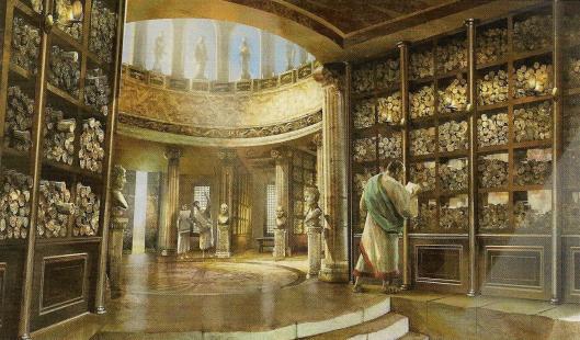 Reconstructietekening antieke bibliotheek van Alexandrië
