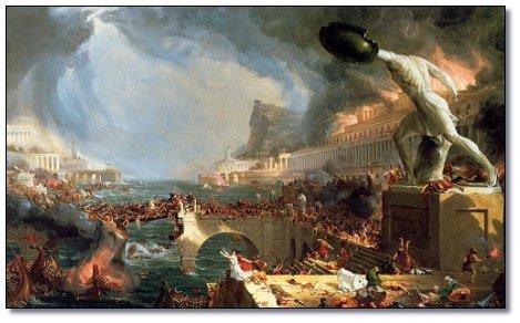 Fantasietekening van Alexandrië in 48 v.Chr. in brand gestoken door de Romeinse troepen van Julius Caesar