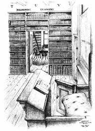 Tekening door Chris Schut uit 1956 van bibliotheek van Oud-Katholiek Seminarie in Amersfoort met doorkijk van de oude naar de nieuwe bibliotheek.