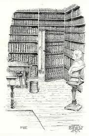 Hoek van de bibliotheek van het Oud-Katholiek Seminarie in Amersfoort met de met boeken beschilderde deur. Tekening Chris Schut, 1956