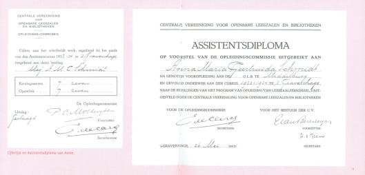 Assistenstdiploma Annie M.Schmidt (Koninklijke Bibliotheek Den haag)