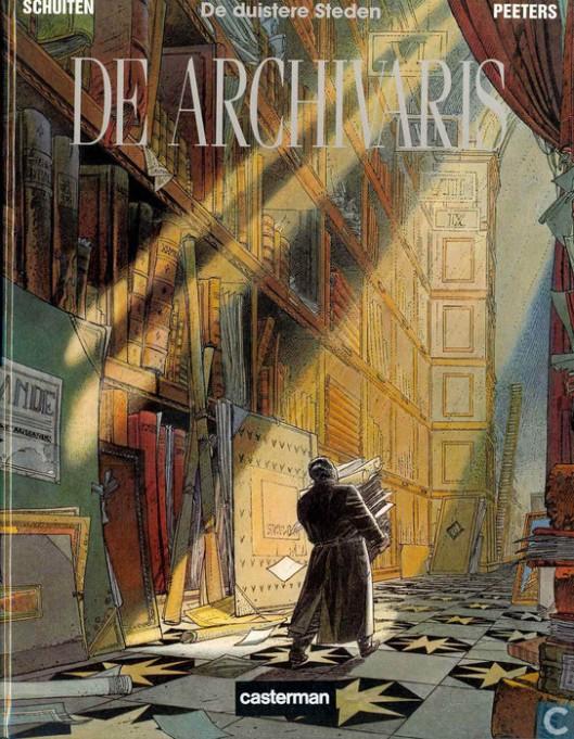 Vooromslag van stripboek 'De Archivaris' door Francois Schuiten en Benoit Peeters (uitg. Casterman, 1987).