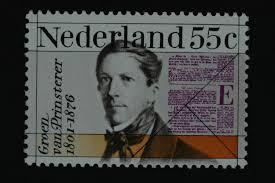 Herdenkingspostzegel voor de politicus G.Groen van Prinsterer (1801-1876) uit 1976. Hij was 1836 tot 1873 de eerste directeur van het Koninklijk Huisarchief in Den Haag