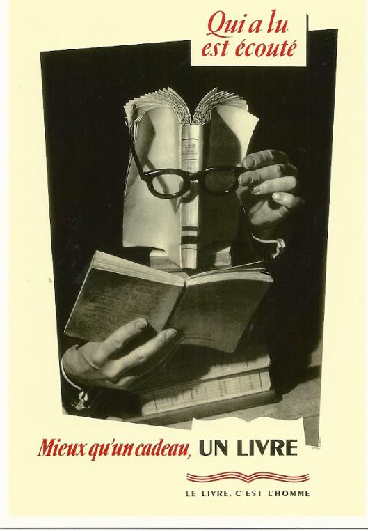 Met 'de bibliothecaris' van Arcimboldo als voorbeeld ontwierp Lucien Lorelle een promotiekaart met reclame voor het boek als geschenk