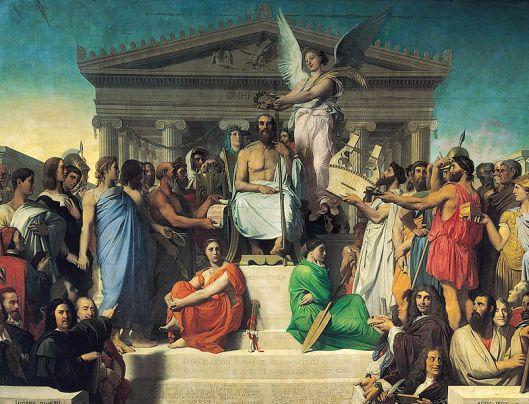 Het gehele schilderij van Ingres uit 1827 gewijd aan Homerus. Aanwezig in het Museum Louvre (Wartburg.edu)