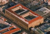De Bayerische Staatsbibliothek te München in vogelvlucht
