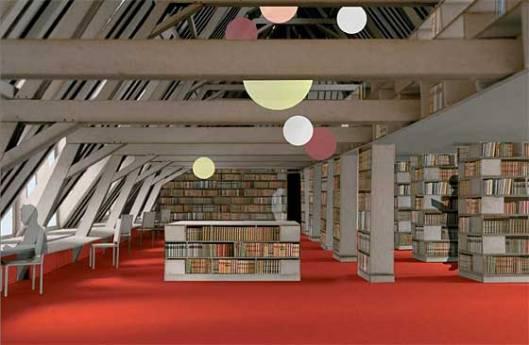 Artist's impression van interieur toekomstige stadsbibliotheek in Mechelen, Begië