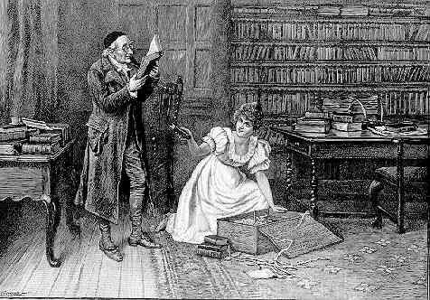 Boekenverzamelaar onderzoekt zijn laatste aanwinsten in aanwezigheid van zijn vrouw. Cartoon uit 1891