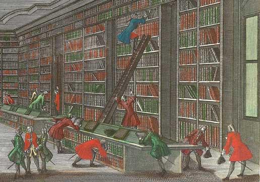 Bibliotheca Buloviana Academiae in Göttingen. Handgekleurde gravure door Georg Balthasar Pronst, circa 1750
