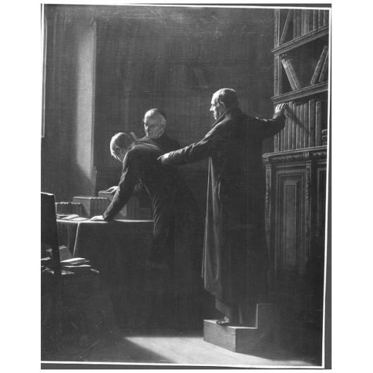 Titel: 'de bibliothecaris', een schilderij van Louis Somers (1813-1880) in het Koninklijk Museum voor Schone Kunsten te Antwerpen
