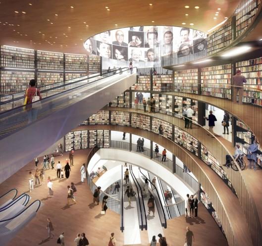 Interieurfoto van de in 2013 geopende bibliotheek van Birmingham