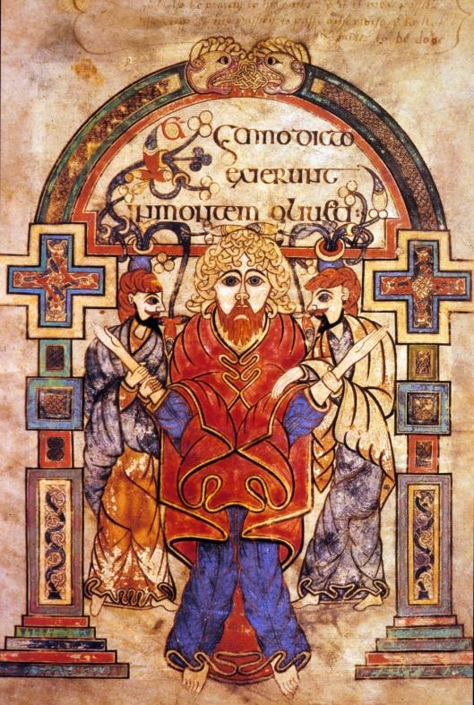 Pagina uit Book of Kells, omstreeks 800 geschreven en geïllustreerd door Keltische monniken