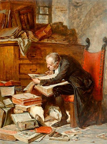 Heinricht Stelzner (1833-1910) Der Büchernarr