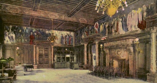 Interior of the Boston Public Library with paintings of Puvis de Chavannes