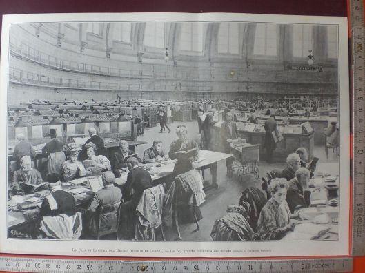 De leeszaal van het Brits Museum op een foto uit 1907