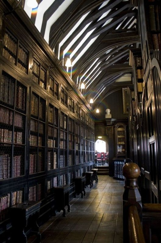 Interior of the old Chetham library in Manchester