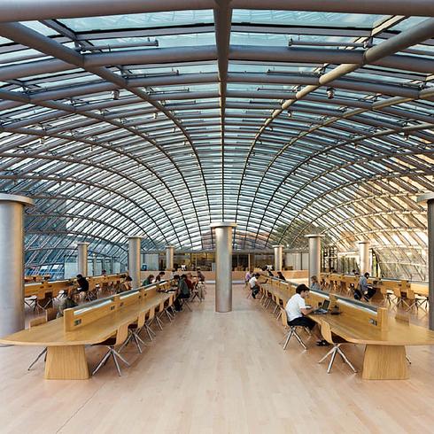 Interieur van Mansueto Bibliotheek, Universiteit van Chicago