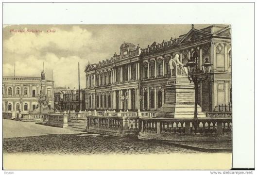 Oude ansichtkaart van Nationale Bibliotheek Chili