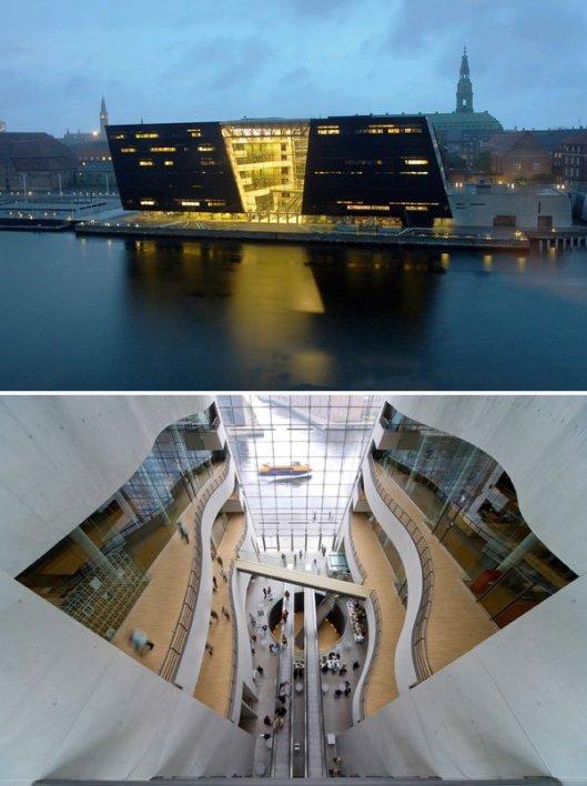 Koninklijke Bibliotheek van Denemarken [bijgenaamd 'de zwarte diamant'] in Kopenhagen