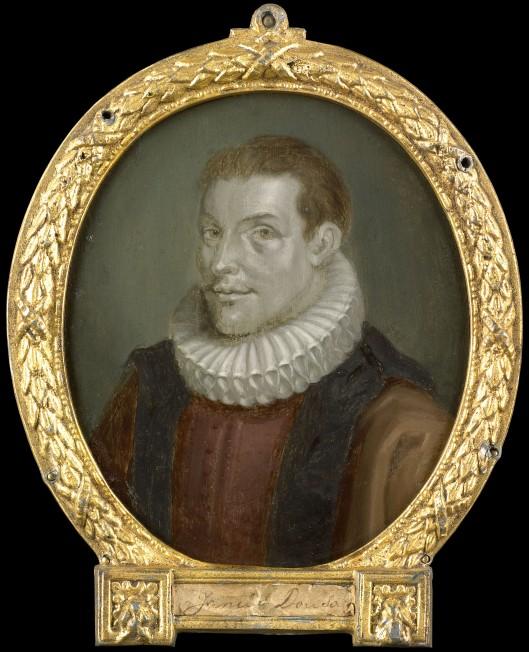 Johan van der Does de Jonge (1571-1598), bibliothecaris Academie Leiden. Geschilderd portret van W.J.Swanenburgh, 1732, kopie naar Arnoud van Halen (RIjksmuseum Amsterdam)