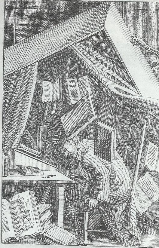 De dood van een bibliomaan. Kopergravure van Johann Rudolf Schellenberg, 1785