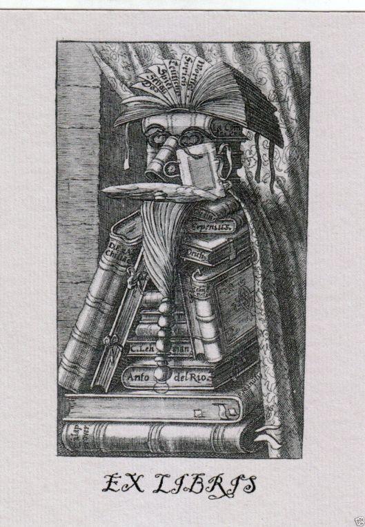 Gegraveerde exlibris met afbeelding van de bibliothecaris door Arcimboldo
