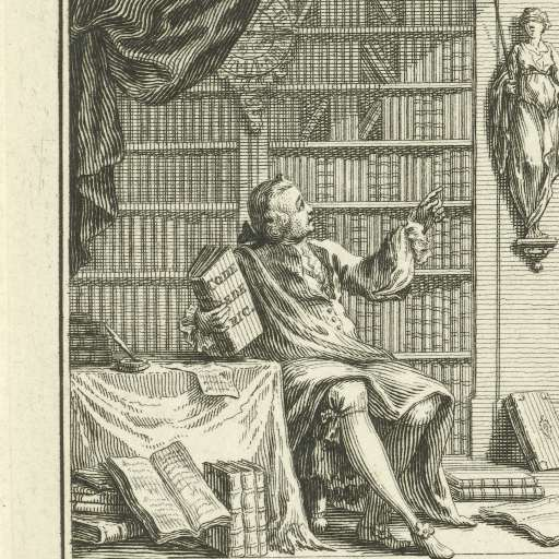 Man in bibliotheek. Ets door Simon Fokke, 1751