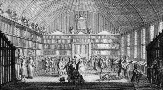 Gravure van de bibliotheek der hogeschool in Franker. Uit bibliotheekcatalogus van 1713.