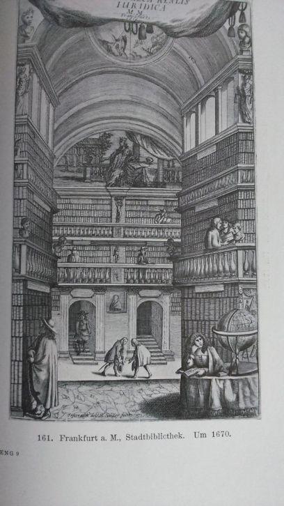 Stadsbibliotheek van Frankfurt. Gravure uit circa 1670