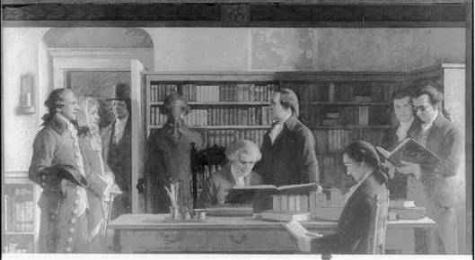 Benjamin Franklin opening the first subscription library in Philadelphia