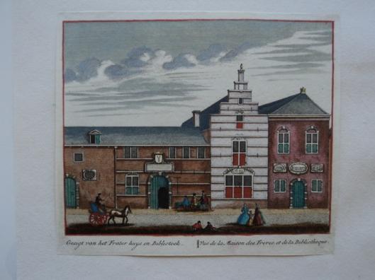 L.Schenk. Kopergravure uit 1736, voorstellende 'Gesigt van het Frater Huys en Bibliotheek' in Delft