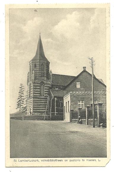 St.Lambertuskerk met pastorie en parochiebibibliotheek in Haelen, Limburg, circa 1930