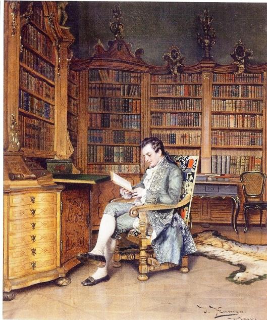 De bibliofiel, schilderij van de Oostenrijkse kunstenaar Johann Hamza (1850-1927)