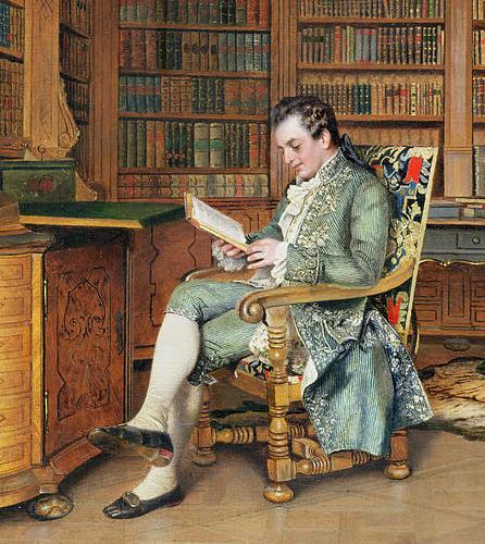 Johann Hamza (1850-1927), schilderij van 'de bibliofiel'.