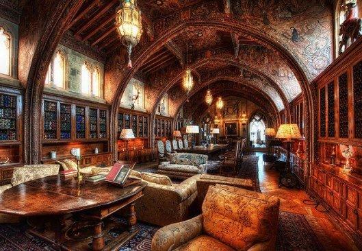 Hearst Museum/Castle, the library, San Simeon, Californië (Improbables Libraries, Improbables Bibliothèques)