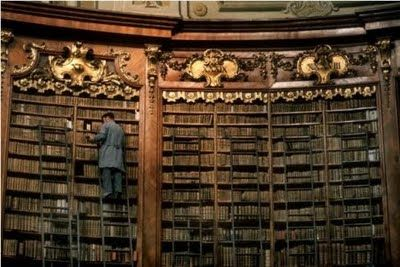 Hoogwerker in een Argentijnse bibliotheek