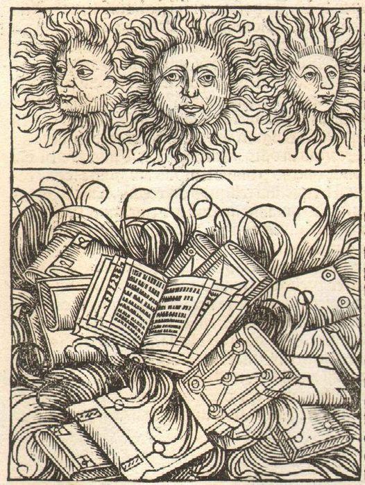 Houtsnede door Michael Wohlgemut (1434/37-1519) met vernietiging bibliotheek in Alaxandrië (3e eeuw) uit de Nuremberger Chronik van Hartmann Schedel, 1493.