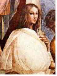 Hypatia zoals zij is afgebeeld door Rafael op zijn schilderij van 'de School van Athene'.