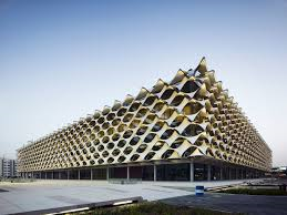 Exterieur King Fahd National Library in Ryadh, Saudi Arabië, ontworpen door Gerber Aechitekten (Duitsland).