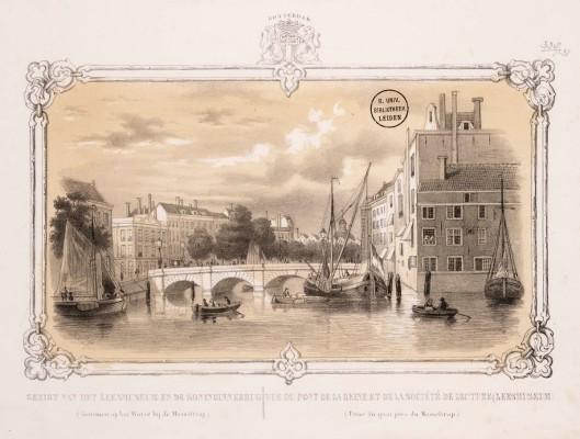 Blik op de Beursbrug in Rotterdam met linksachter het vm. Leeskabinet. Steendruk door H.W.Last uit 1850