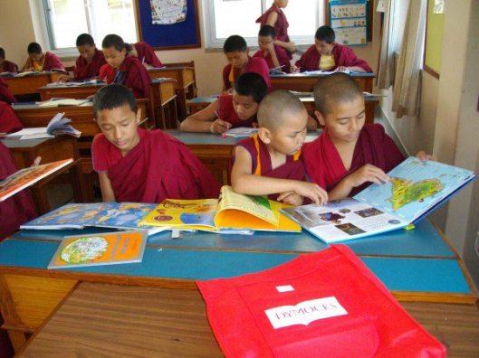 Toekomstige monniken lezend in uit de Verenigde Staten gedoneerde boeken (Virginia da Silva Veiga)