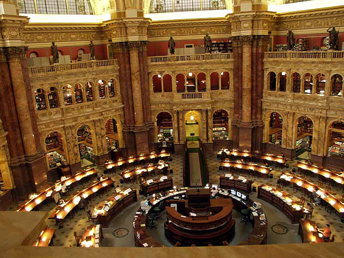 Grote leeszaal in Library of Congress, Washington