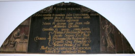 Paneel uit stadsbibliotheek (librije) Gouda, gesticht in 1594 (Museum Gouda)