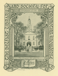 Exlibris of Belfast Library and Society for Promoting Knowledge (Linen Hall)
