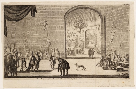 Jan Luyken. 'De Keyserlyke Bibliotheek en Rariteyt Kamer' (Wenen) . Uit: Edward Brown, Naukeurige en Gedenkwaardige Reysen (...)' 1682/1696.