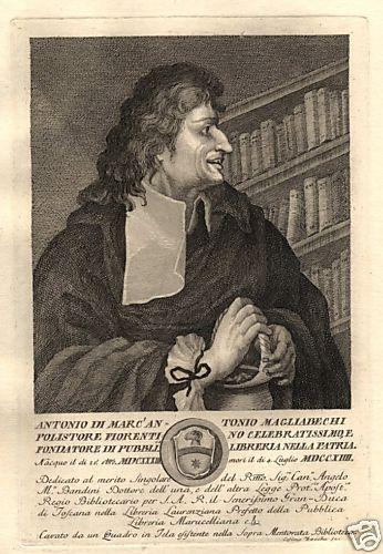 Portretgravure van Antonio Magliabechi (1633-1714)