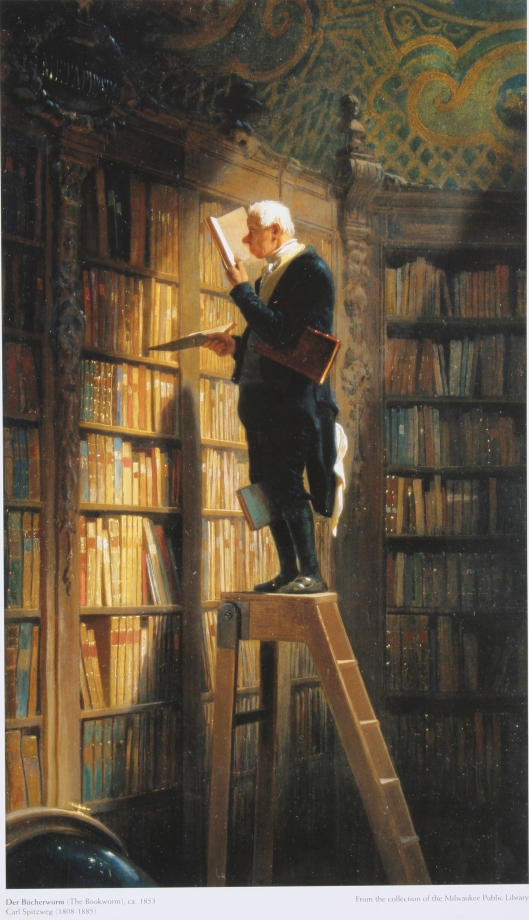 Van het romantische olieverfschilderij 'Der Bücherwurm' (1848-1850) door Carl Spitzweg bestaan 3 versies. Deze afbeelding bevindt zich (nog) in de Milwaukee Public Library, USA
