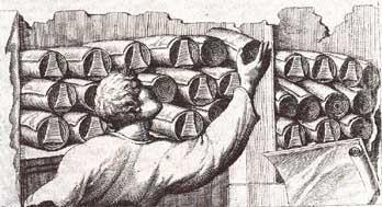 Een slaaf pakt een papyrusrol uit een opbergkast. Tekening naar een verloren gegaan Romeins reliëf uit Neumagen