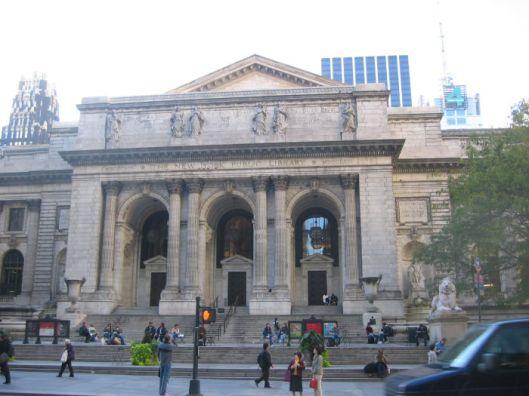 Vooraanzicht hoofdgebouw van de New York Public Library, 43nd. Avenue